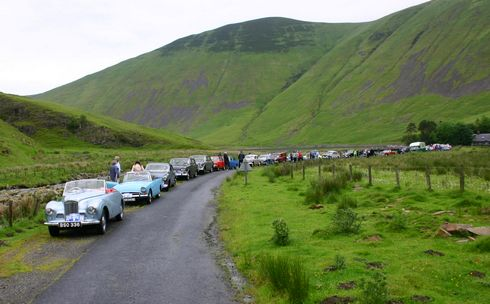 moffat rally waiting for sheep to walk along the route